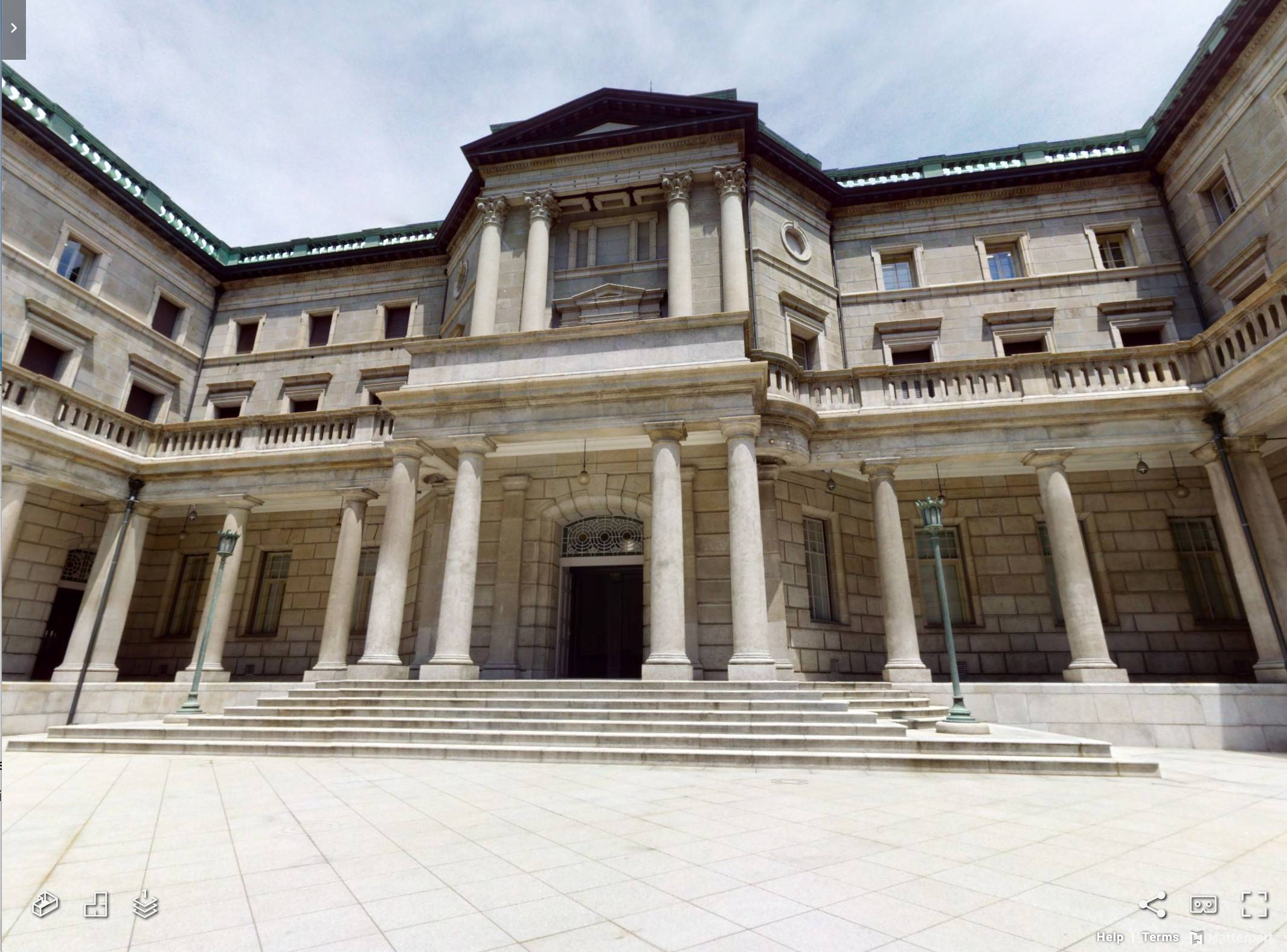 A view of a Bank of Japan building is seen in this screen grab from a virtual reality tour. | VIRTUAL REALITY INNOVATION ORGANIZATION / VIA REUTERS
