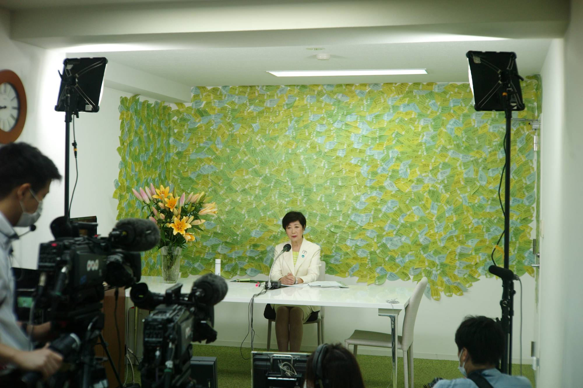 Tokyo Gov. Yuriko Koike speaks to the media after projections pointed to her re-election on Sunday.    RYUSEI TAKAHASHI
