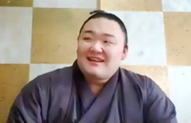 Newly-promoted ozeki Asanoyama speaks during an online news conference on Tuesday at his Takasago stable in Tokyo. The Japan Sumo Association announced that none of its roughly 900 members have the coronavirus after being tested before the July Grand Sumo Tournament, which is scheduled to start on July 19 at Tokyo's Ryogoku Kokugikan. | KYODO