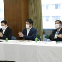 An LDP group including former defense ministers met June 30 to discuss a new defense strategy that would allow the Self-Defense Forces to attack enemy bases. | KYODO