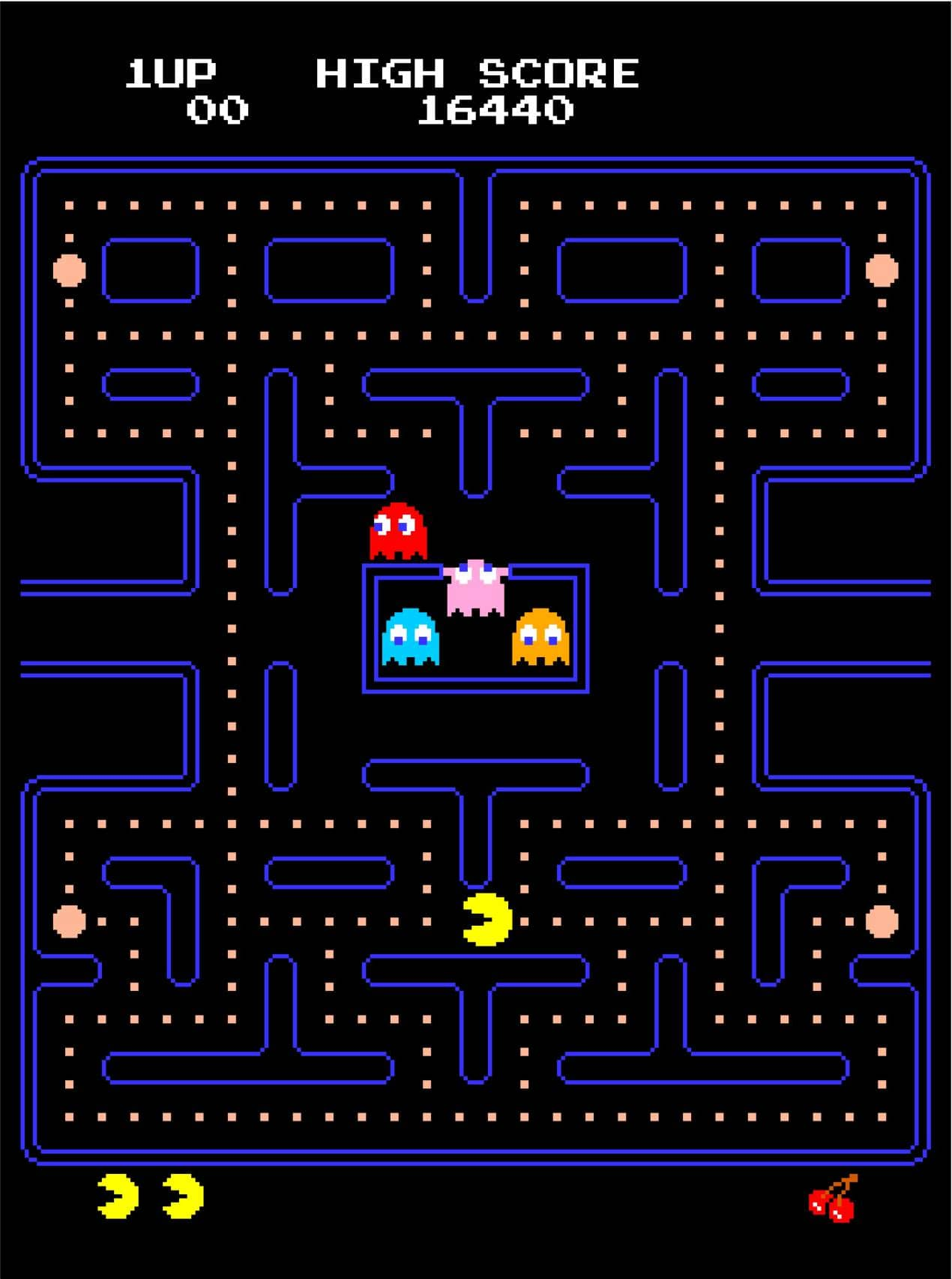 In Pac-Man, the player attempts to eat all of the dots placed in an enclosed maze while avoiding four colored ghosts that each have their own unique