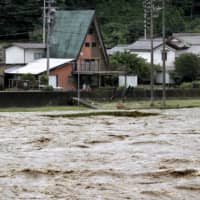 The Hida River in the city of Gero, Gifu Prefecture, on Wednesday morning | KYODO