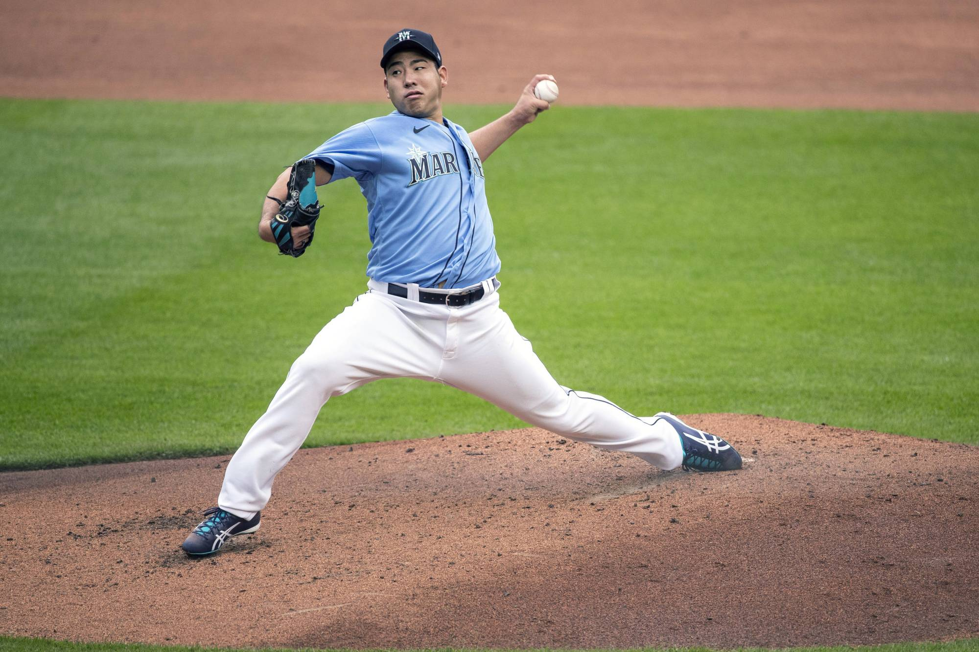 Mariners pitcher Yusei Kikuchi throws live batting practice on Wednesday at T-Mobile Park in Seattle. | AP