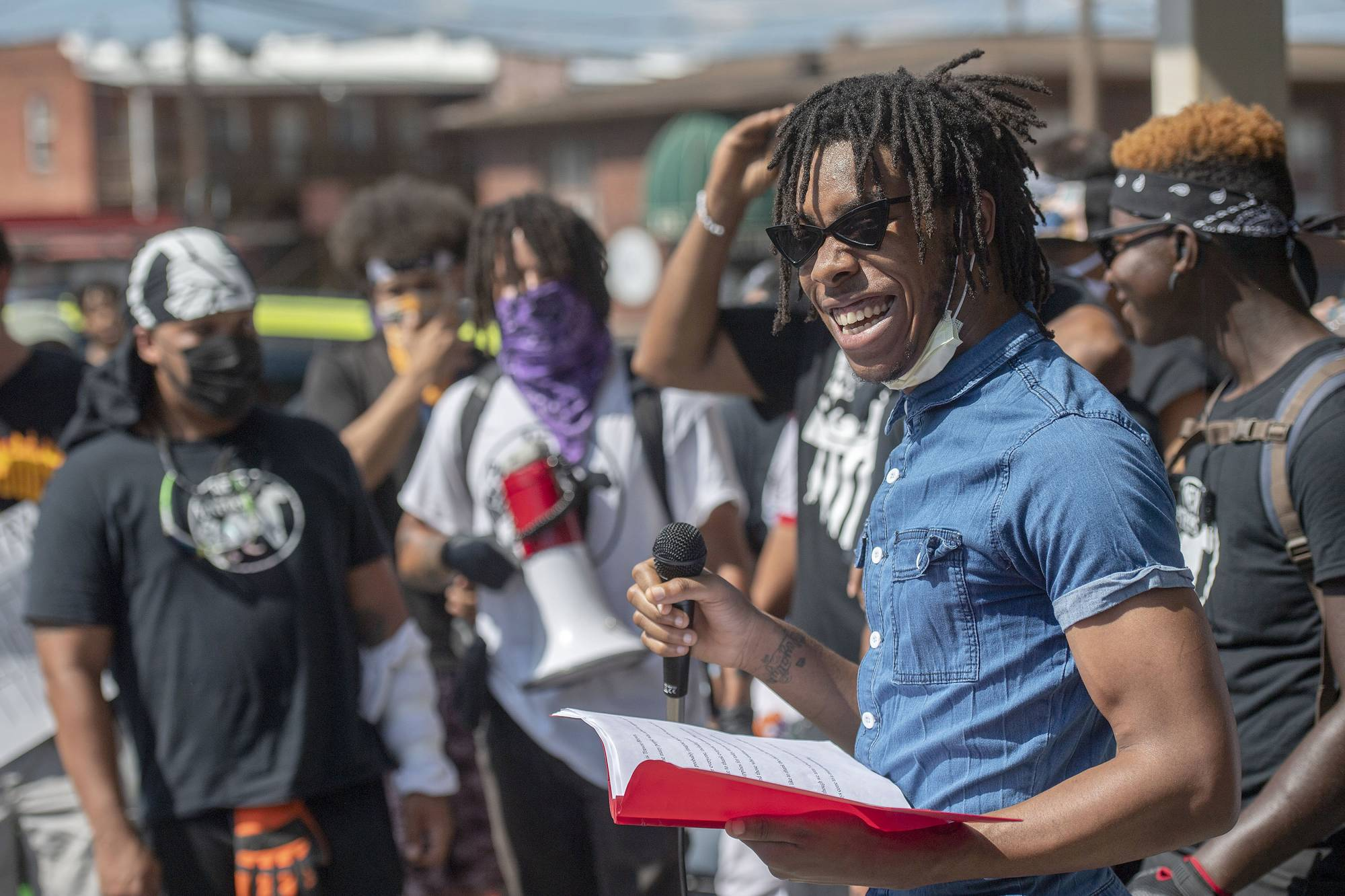 A man speaks to a crowd before a Black Lives Matter rally march in Marion, Virginia, on July 3. | ANDRE TEAGUE / BRISTOL HERALD COURIER / VIA AP