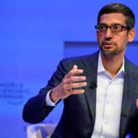 Sundar Pichai, chief executive officer of Alphabet Inc., attends the 50th World Economic Forum in Davos, Switzerland, on January 22.   REUTERS