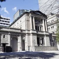 The Bank of Japan predicts the economy to shrink 4.7 percent in fiscal 2020 due to pandemic fallout.   KYODO