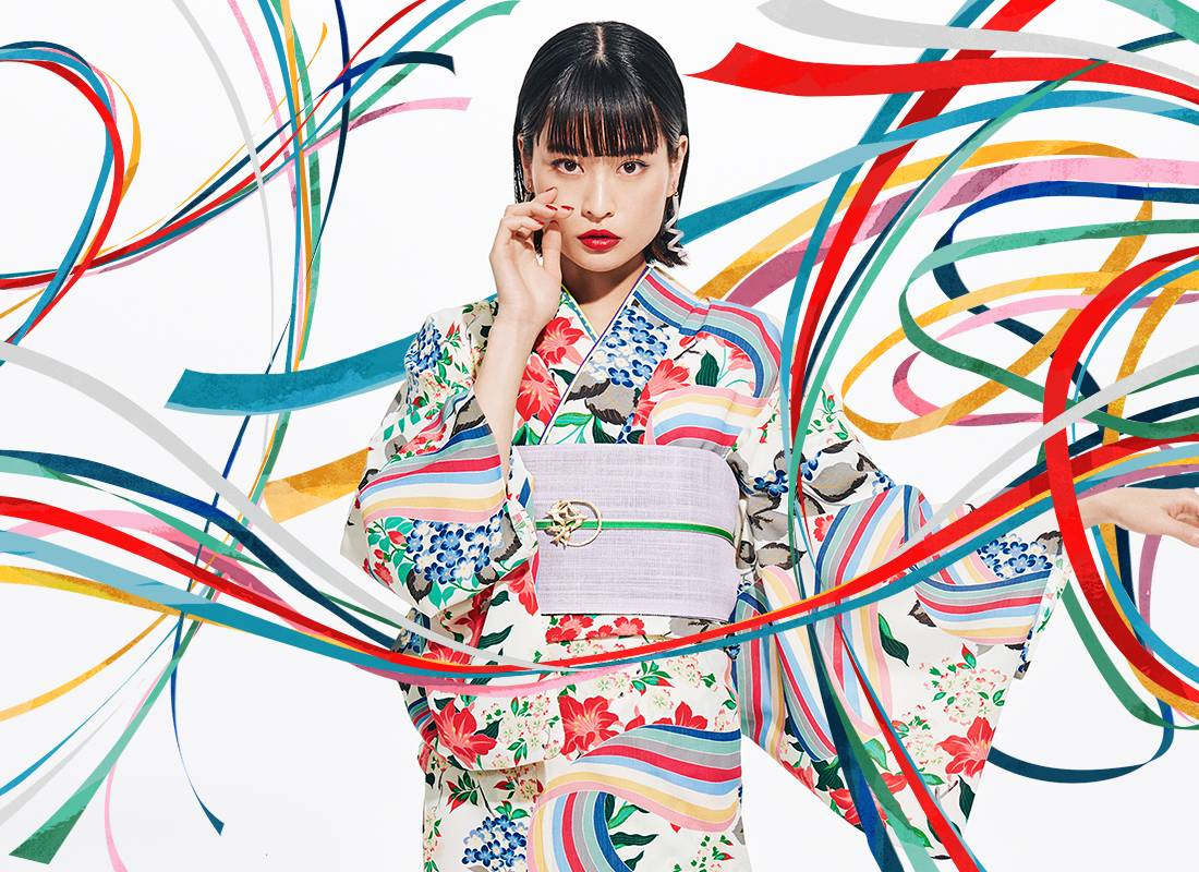 Furifu designs kimonos and kimono-inspired Western clothes aimed at women in their 20s. | COURTESY OF MIMATSU GROUP