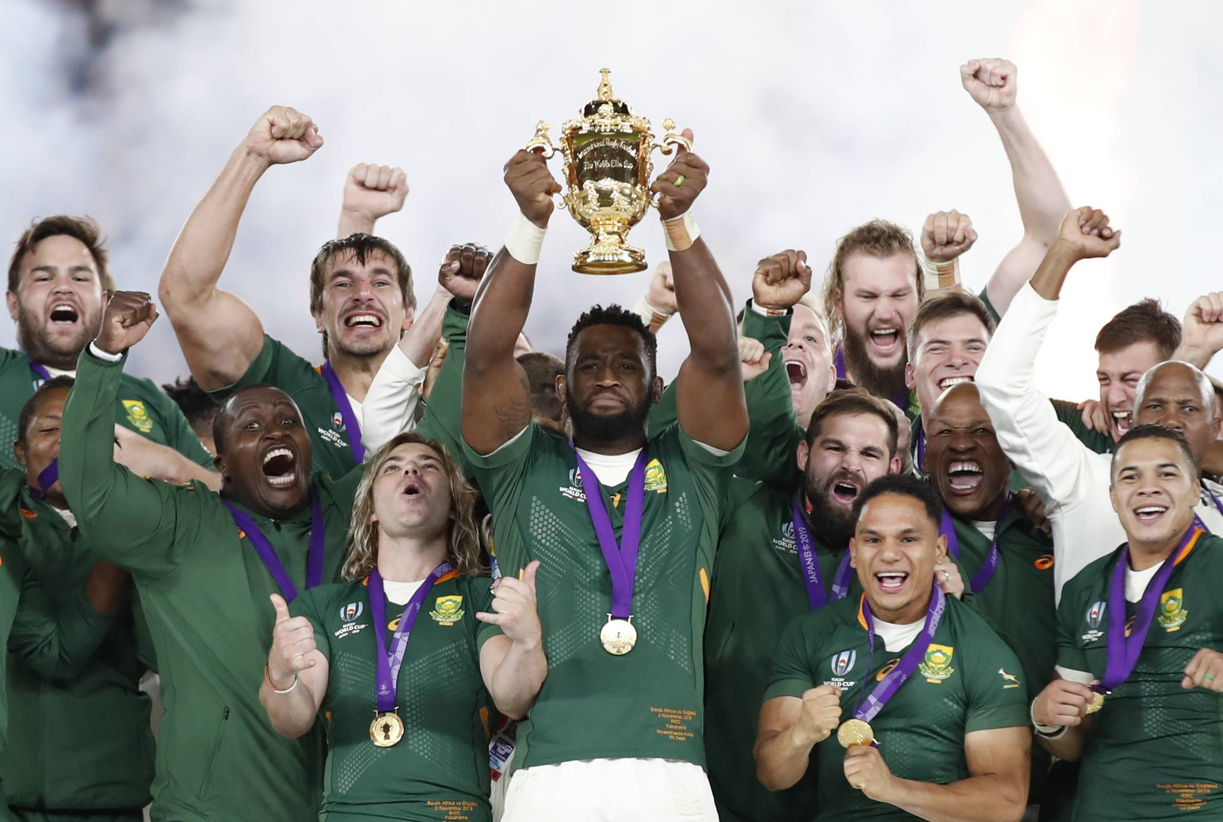 South Africa celebrates after winning the Rugby World Cup on Nov. 2, 2019, in Yokohama.  | REUTERS
