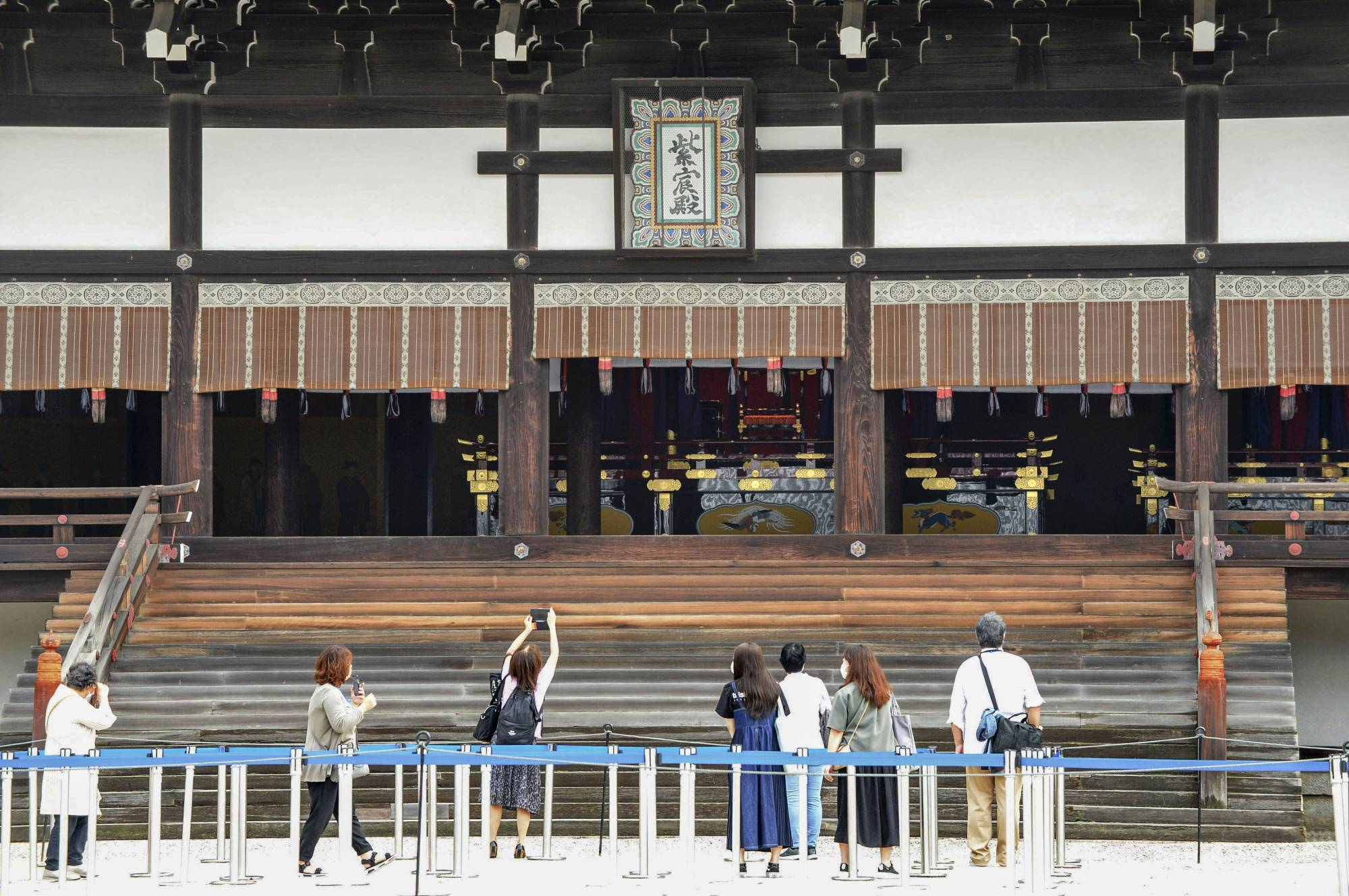 The canopied Takamikura imperial throne in which the emperor proclaimed his enthronement last October is seen on public display at Kyoto Imperial Palace on Saturday. | KYODO