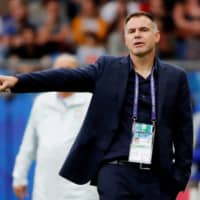 Australia women's coach Ante Milicic gestures during a Women's World Cup group stage match between Australia and Brazil on June 13, 2019, in Montpellier, France. | REUTERS