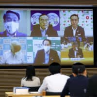 Prefectural governors discuss the Go To Travel campaign during a teleconference on Sunday. | KYODO