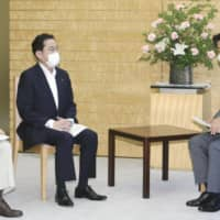 Fumio Kishida, center, chairman of the Liberal Democratic Party's Policy Research Council, has been widely seen as a successor to  Prime Minister Shinzo Abe, but doubts over the prospect are apparently growing within the ruling Liberal Democratic Party. | KYODO