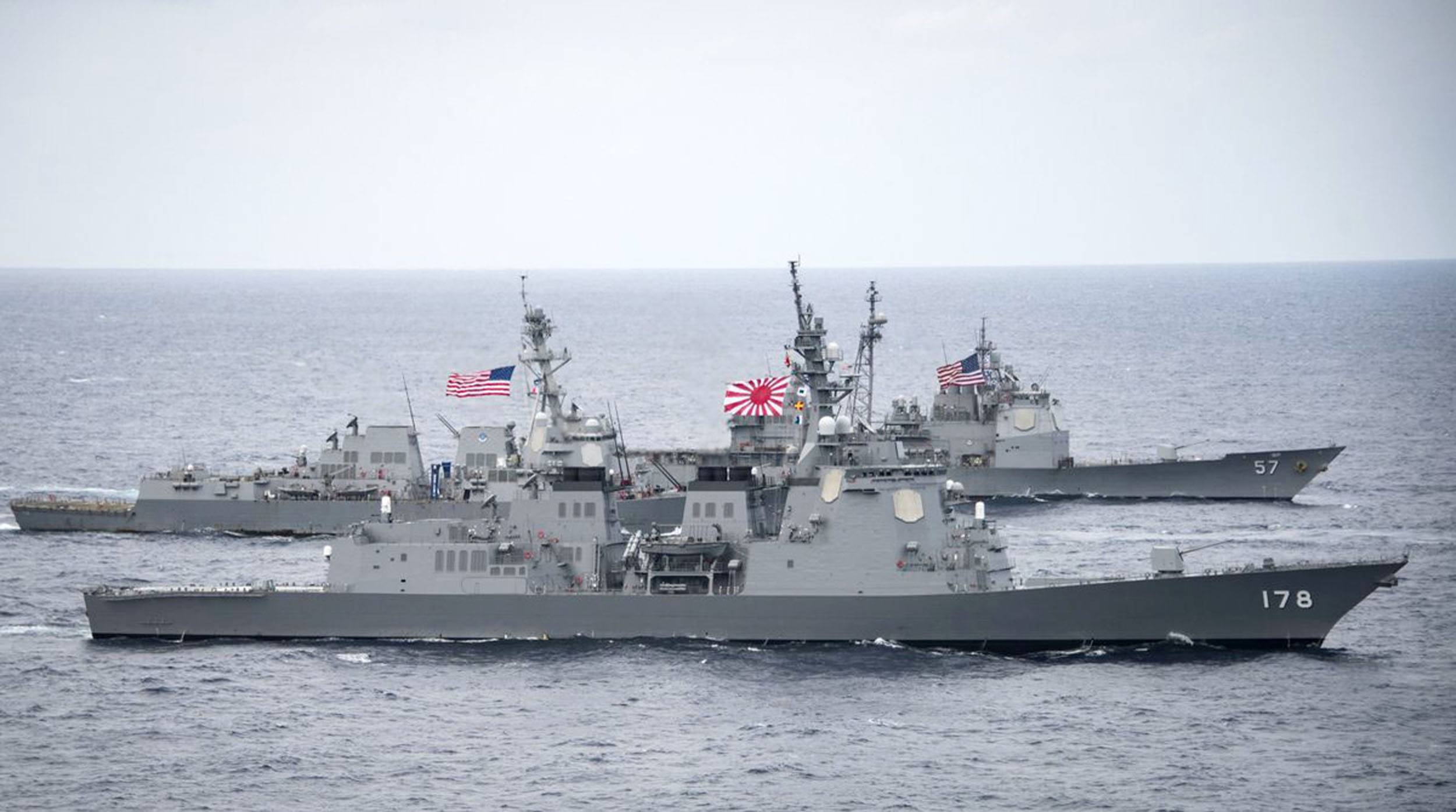 An updated photo posted on United States Pacific Command's Twitter account shows Maritime Self-Defense Force's Aegis destroyer Ashigara in the foreground. | KYODO