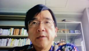 Kohei Kawashima, professor of Sport Sciences at Waseda University, speaks during a videoconference interview with The Japan Times earlier this month.   KAZ NAGATSUKA
