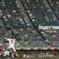 Fans watch a game between the Tigers and Carp on Wednesday at Koshien Stadium in Nishinomiya, Hyogo Prefecture.   KYODO
