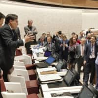Discussion on how to regulate autonomous weapons becomes intense during a meeting of the U.N. Convention on Certain Conventional Weapons last November in Geneva. | KYODO