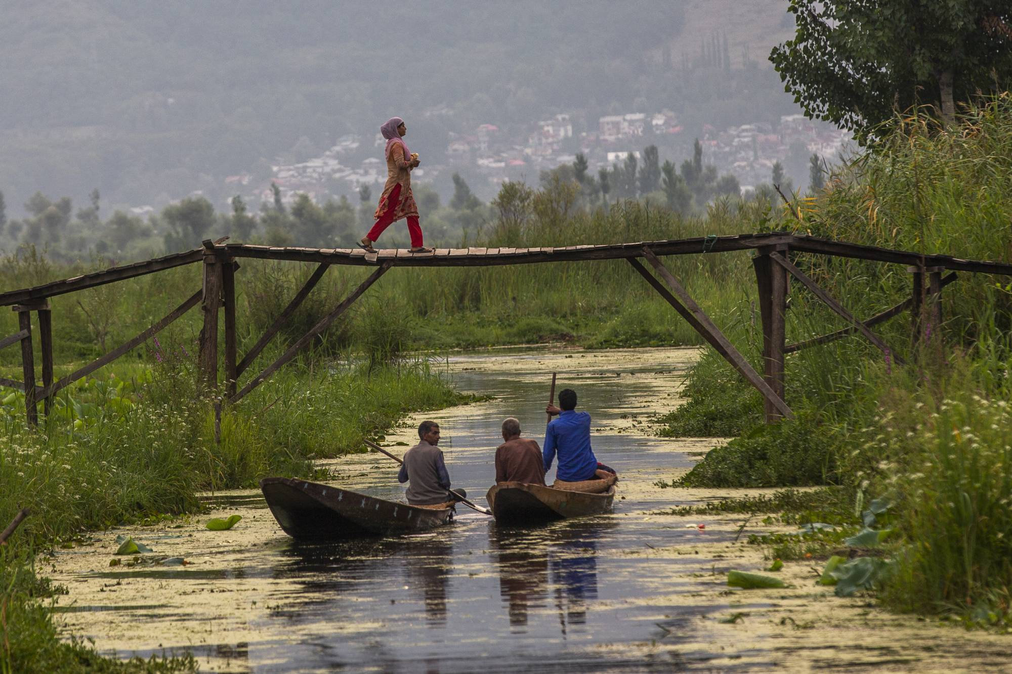 A Kashmiri woman walks back home after buying bread as men row their boat after selling their vegetables at the floating vegetable market on the Dal Lake in Srinagar, India. | AP