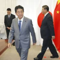 Prime Minister Shinzo Abe and Chinese President Xi Jinping ahead of their meeting in Vladivostok, Russia, in September 2018 | KYODO