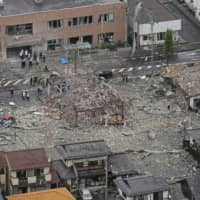 A steel building that housed a restaurant in Koriyama, Fukushima Prefecture, was completely destroyed, with only its frame left standing.   KYODO