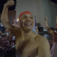 Naked ambition: The first upload for John Daub's newly launched Only in Japan channel saw him take part in Hokkaido's Noboribetsu Hot Spring Festival. |