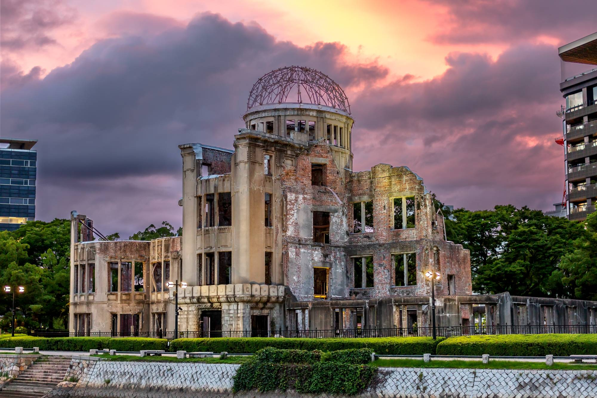 The A-Bomb Dome in the city of Hiroshima is what remains of the former Prefectural Industrial Promotion Hall. When the bomb exploded above the city on Aug, 6, 1945, it was one of the few buildings to remain standing after the blast. | PETER CHORDAS