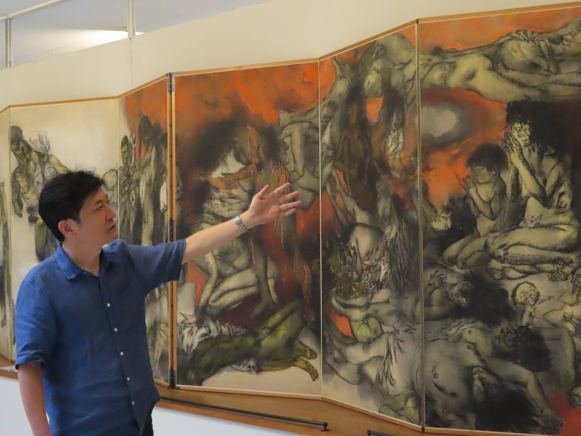 Yukinori Okamura says gaining support from overseas is crucial to the future and survival of the Maruki Gallery for the Hiroshima Panels. | KYODO