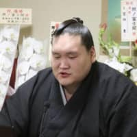 Terunofuji speaks during an online news conference from Isegahama stable in Tokyo on Monday. | JAPAN SUMO ASSOCIATION / VIA KYODO