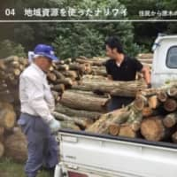 Ashitaka incorporated association in Maniwa, Okayama Prefecture, utilizes local resources such as wood by matching hot spring lodges and mountain owners in supplying firewood for the lodge's boilers. | ASHITAKA