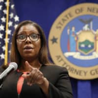 New York State Attorney General Letitia James takes a question after announcing that the state is suing the National Rifle Association, during a news conference Thursday in New York. | AP