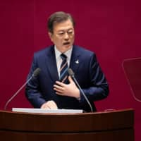 South Korean President Moon Jae-in, driven by a sense of justice and a desire to gain public approval, has placed the will of victims of wartime labor and their families above a landmark bilateral agreement that normalized ties.   BLOOMBERG