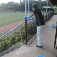 A stadium used by the soccer club at Rissho Shonan High School in Matsue, Shimane Prefecture, was sanitized after a large cluster of COVID-19 infections was confirmed. | KYODO