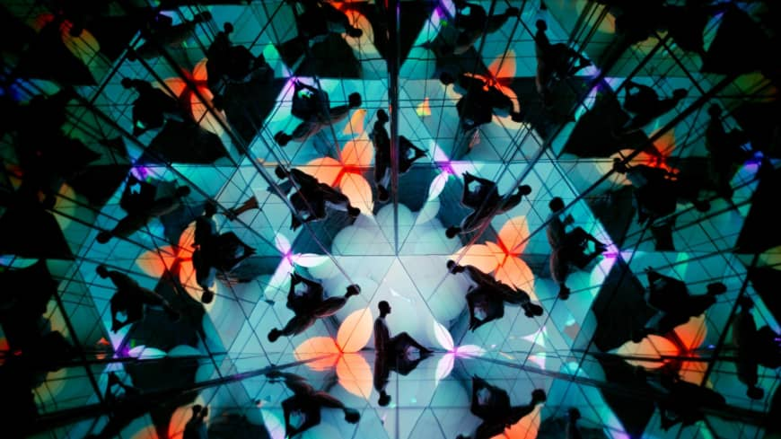 """Between rooms: A kaleidoscopic hallway in """"Shifting Valley"""" leads to a surprising finale at teamLab Forest Fukuoka."""
