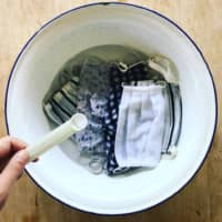 Sustainable safety: Ditch the single-use masks and switch to cloth. You can disinfect them with scallop shell powder, rinse and hang to dry. | COURTESY OF ZEROWASTE.TOKYO