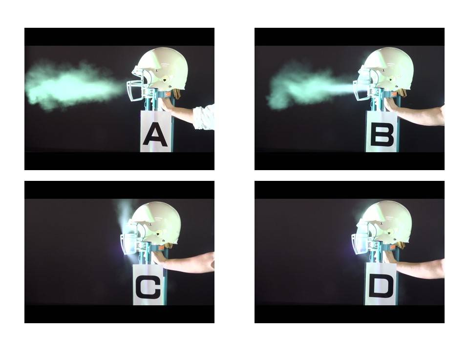 A series of photos from an experiment conducted by Dr. Hiroto Fujiya of St. Marianna University School of Medicine show how droplets can spread through helmets without a shield (A), with an eye shield (B), with a mouth shield (C) and with a face shield (D). | ©2020 HIROTO FUJIYA