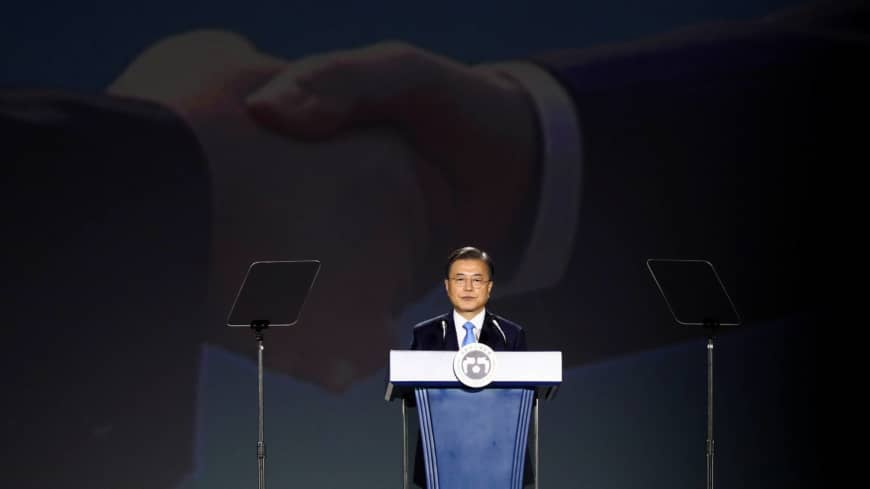 South Korea's Moon Jae-in extends olive branch to Tokyo over wartime history disputes