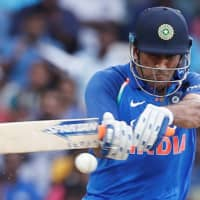 India's Mahendra Singh Dhoni plays a shot against Australia during a one day international on Sept. 17, 2017, in Chennai, India. | REUTERS
