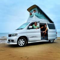 Shore up: The Nguyen-Van Ripers embarked on an educational journey and came to Japan this spring. They rented a campervan for 31 days in July and the kids called it Nekobasu from Hayao Miyazaki's 'My Neighbor Totoro.' | COURTESY OF LIEZL VAN RIPER; KYODO