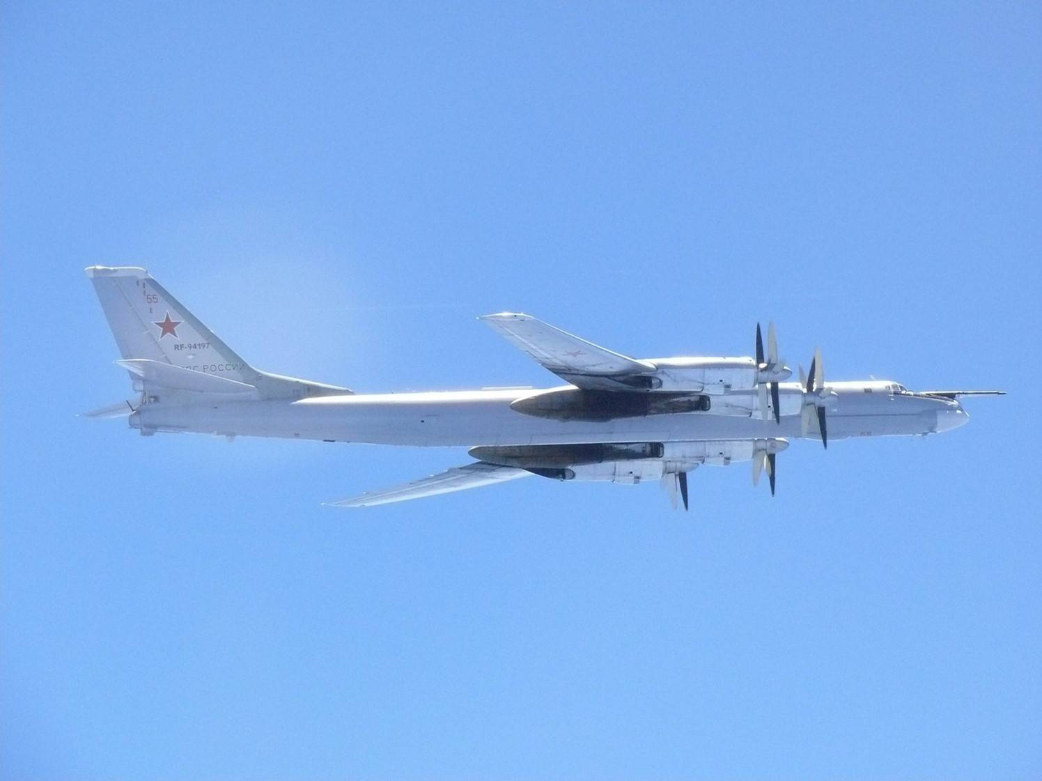 A Russian TU-95 bomber is seen flying near the southern part of Japan in this handout picture taken by the Air Self-Defense Force in  August 2017. | JOINT STAFF OFFICE OF THE DEFENSE MINISTRY OF JAPAN / VIA REUTERS