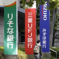 Pedestrians wearing protective masks walk past signage for Resona Bank Ltd., from left, MUFG Bank Ltd., Mizuho Bank Ltd. and Sumitomo Mitsui Banking Corp. in Tokyo on May 13. | BLOOMBERG