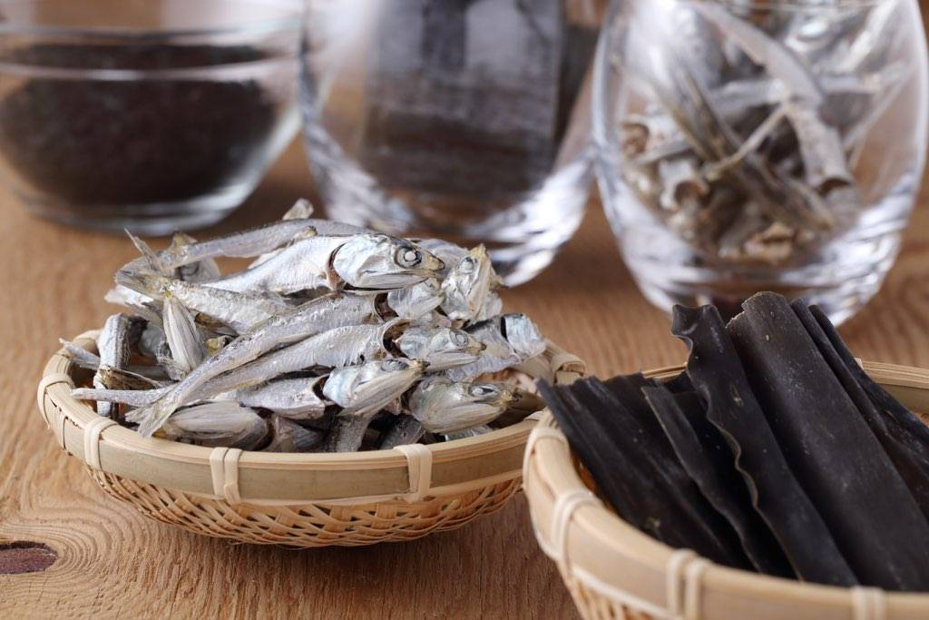 Foundational flavor: Dashi is made from several simple dried provisions, such as kelp and sardines.  | COURTESY OF MIKA KUMAHARA