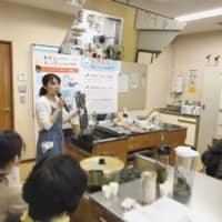 Technique and advocacy: At her Akachan no Odashiyasan (Baby's Dashi Shop) classes, Mika Kumahara walks busy parents through ways to use dashi in baby food. | COURTESY OF MIKA KUMAHARA