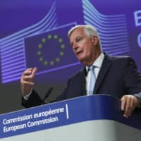 European Union chief Brexit negotiator Michel Barnier speaks during a news conference after Brexit trade talks between the EU and the U.K. | POOL / VIA AP