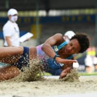 Germany's Malaika Mihambo competes in the women's long jump event at the German Athletics Championships in Braunschweig, Germany, on Aug. 9. | REUTERS