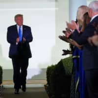 U.S. President Donald Trump arrives to listen to first lady Melania Trump deliver her live address to the largely virtual 2020 Republican National Convention from the Rose Garden of the White House in Washington on Tuesday. | REUTERS