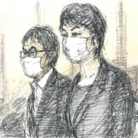 A court illustration shows Katsuyuki Kawai (left) and his wife Anri attending a trial at the Tokyo District Court Tuesday. | KYODO