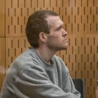 Australian white supremacist Brenton Tarrant attends his third day in court for a sentence hearing in Christchurch, New Zealand, on Wednesday.   | POOL / VIA AFP-JIJI