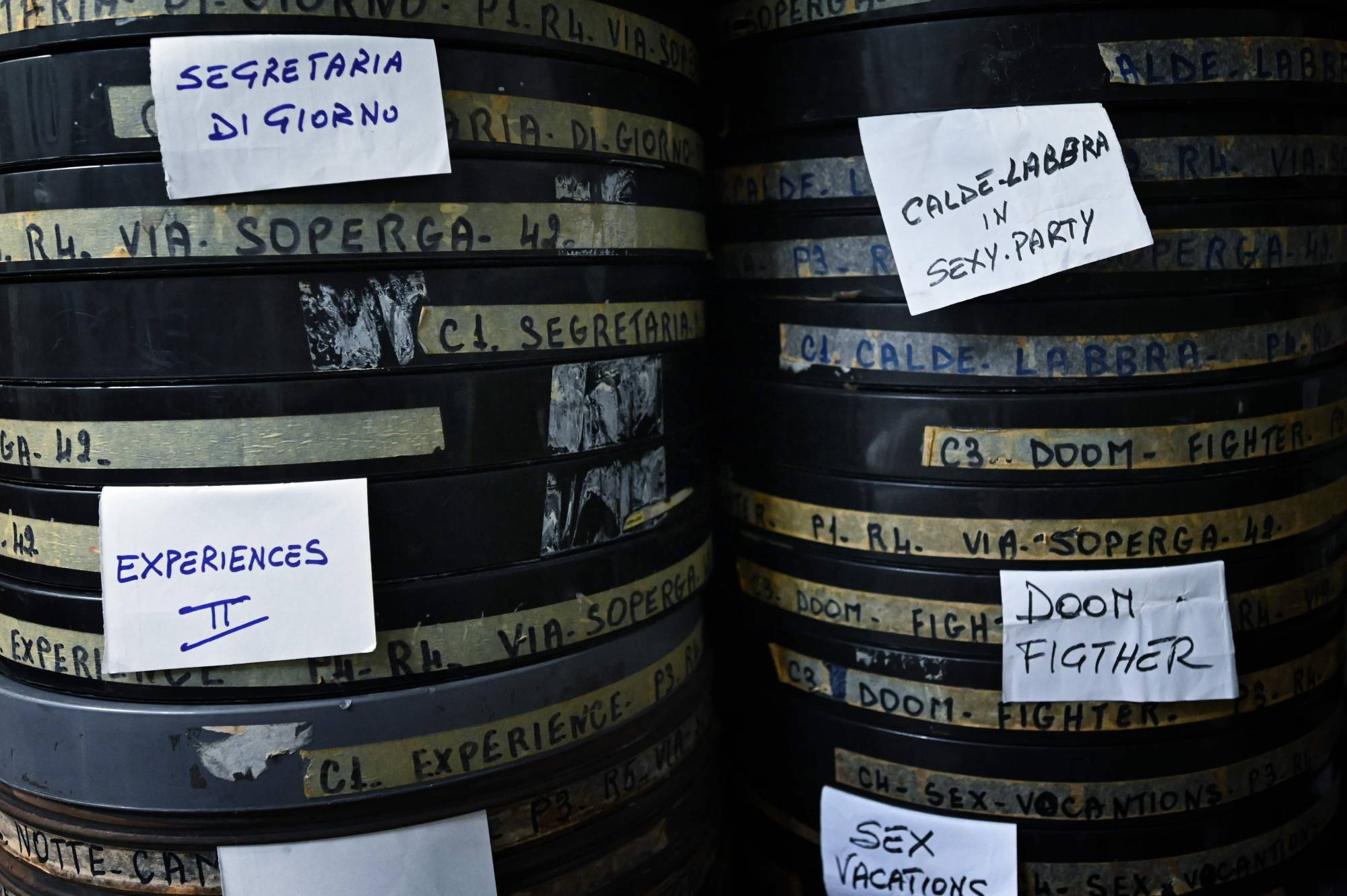 Film reels are stored at the Ambasciatori, Rome's last porn cinema theater, on Wednesday.   AFP-JIJI