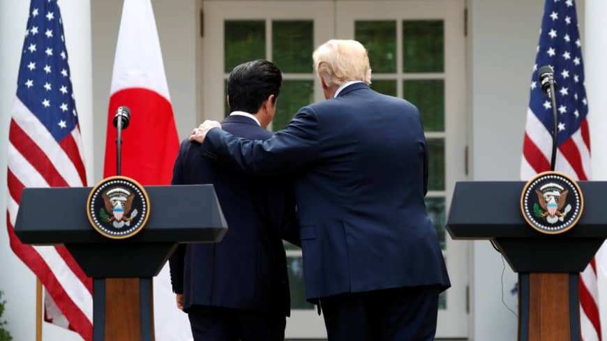 Trump lauds Abe as Japan's 'greatest prime minister' as bromance set to end