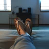 Practical footwear: Kami-waraji sandals keep feet dry and comfortable in a hotel or on an airplane.