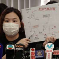 Winnie Yu, leader of the Hospital Authority Employees Alliance, speaks at a news conference in Hong Kong on Sunday calling for a boycott of the government's universal coronavirus testing plan. | REUTERS